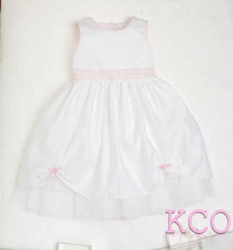 Lace Belt Dress White/Pink ~ girls dress